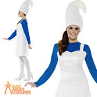 Adult Blue Garden Gnome Costume Ladies Smurf Fancy Dress Outfit New