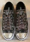 Customised Grey Black Animal Print Leather & Crystal Toe Bling Converse All Star