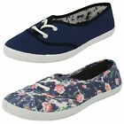 Ladies Spot On Canvas Lace Up Pimsolls