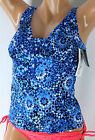 *NWT MIRACLESUIT Lagoon Blue Tile Style Women's Swimsuit Tankini Top 8 NEW M15