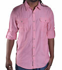 DKNY Men's Red Casual Modern Fit Button Up Shirt