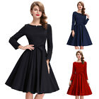 Ladies Bow Belt Vintage Style 1950s Casual PROM Swing Skaters Dress