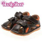 Boys Infant Toddler - Leather Squeaky Shoes Sandals - Brown