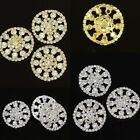 4Pcs Sparkle Clear Rhinestone Gold Silver Round Shank Buttons Fit Sewing Decor