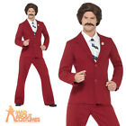 Anchorman Costume Ron Burgundy Fancy Dress 70s Newsreader Outfit Licensed