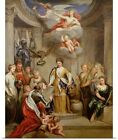 Poster Print Wall Art entitled Queen Anne presenting plans of Blenheim to