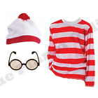CHILDRENS KIDS WHERES RED WHITE T SHIRT HAT GLASSES WALLY FANCY DRESS BOOK WEEK