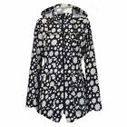 LADIES RAIN MAC LIGHTWEIGHT DAISY PATTERN BLACK FESTIVAL JACKET HOODED RAINCOAT