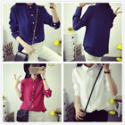 Fashion Women's Preppy Style Casual Cotton Long Sleeves T Shirts Tops Blouse