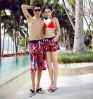 Mens Womens Lovers Beach Surf Board Shorts Casual Red Swim Pants DR646