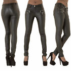 Women high waisted leather trousers black pink white navy size 8 10 12 14 16