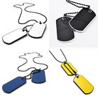 Distinct 2 Army Tactical Style Black 2 Dog Tags Chain Men Pendant Necklace