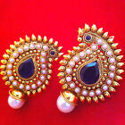 Traditional Indian Bollywood Jewelry Gold Finish Paisley Stud Earrings ABEA0277