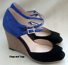 NEW CLARKS SHOOTING COMET WOMENS BLUE / BLACK SUEDE WEDGE SHOES SIZE 5.5 / 39