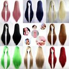 New Womens Multicolor Anime Cosplay Party Wigs Fashion Long Straight Full Wigs