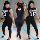 New bodycon Rompers Womens Jumpsuit Casual letter Bodysuit women Long Playsuits