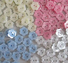 SMALL FLOWER BUTTONS - PEARLY FINISH TEENY BABYKNIT VARIOUS COLOURS  AND SIZES