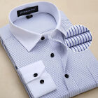TAT6309 New Mens Striped Formal Slim Casual Long Sleeve Business Dress Shirts