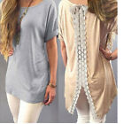 Women Fashion Vest Short Sleeve Blouse Casual Tank Tops T-Shirt Lace Pullover FO