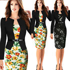 Elegant Women Long Sleeve Evening Party Business Office Slim Belted Pencil Dress