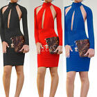 Women's Ladies Halter Long Sleeve Backless Hip Wrapped Cut Out Dress Clubwear