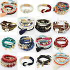 New Women's Bangle Pendant Crystal Multilayer Elastic Bead Bracelet Hook Jewelry