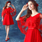 Red Lace Long sleeve Evening Formal Party Prom Gown Bridesmaid Wedding Dres L667