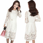 Elegant Women Long Sleeve Lace Dress Korean Style Evening Cocktail Party Dress