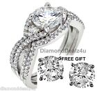 14k White Gold 925 Sterling Silver Round cut Engagement Ring Wedding Band Set