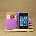 For NOKIA Asha 502 Flip Magnetic Card Wallet PU Leather Case Stand Cover Skin