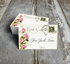 PINK ROSE POSTCARD WEDDING PLACE CARDS, TAGS or ESCORT CARDS #176