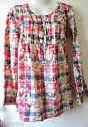 Fat Face Cream Red Blue Check with Floral Pattern Tunic Top Shirt 8 - 22