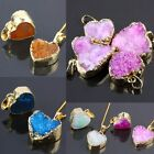 Natural Gemstone Quartz Crystal Stone Drusy Cluster Geode LOVE Heart Pendant