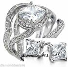 14k White Gold 925 Sterling Silver Princess cut Engagement Ring Wedding Band Set