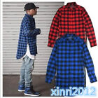 Hip hop tyga mens red Tartan plaid shirts Long sleeve side gold zipper  shirt