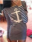 New Nautical Navy Anchor Black White Striped Dress Hippy Casual Beach Womens