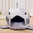 NEW Padded Fleece Grey Shark Pet House Cosy Cave Cat/Dog Bed Kennel Soft & Warm