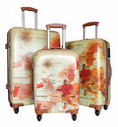 3Pc Luggage Set Hardside Rolling 4Wheel Spinner CarryOn Travel Case Poly Map