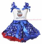 4th July Bling Apple White Top Patriotic Star Pettiskirt USA Girls Outfit 1-8Y