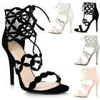 Ladies Cut Out Lace Up Stiletto Heel PeepToe Ankle Strappy Calf Sandals Shoes