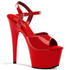 Pleaser ADORE-709 Platforms Exotic Dancing Red Ankle Strap Open Toe High Heels
