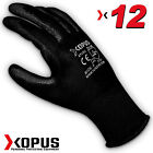 12 Pairs Black High Quality Work Gloves Pu Coated  Builder Mechanic Construction