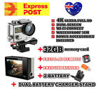 32GB 2BATT 4K HD DUAL SCREEN WI-FI Sports Action Video Camera Go Fit Pro Mount