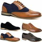 Mens Casual Two Tone Formal Office Smart Work Lace Up Oxford Brogue Shoes Size