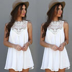 Women Lace Hollow Casual Sleeveless Evening Party Beach Dress Short Mini Dress
