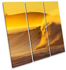 Surfer Sunset Beach Wave Surf TREBLE CANVAS WALL ART Square Print Picture