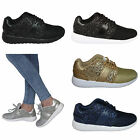 womens glitter trainers lace up pumps ladies casual sports gym new shoes size