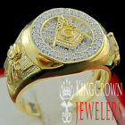 MENS YELLOW GOLD SILVER LAB DIAMOND FREE MASON G COMPASS MASONIC PINKY RING BAND