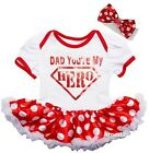 Father's Day Baby Sparkle Dad You're My Hero Red Polka Dots Bodysuit Tutu