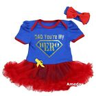 Father's Day Baby Gold Sparkle Dad You're My Hero Blue Red Bodysuit Tutu
